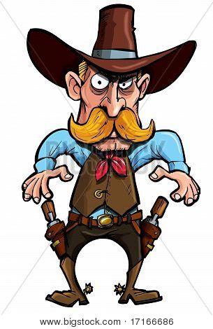 Cartoon Cowboy With A Gun Belt