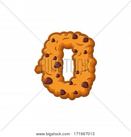 Number 0 Cookies Font. Oatmeal Biscuit Alphabet Symbol Zero. Food Sign Abc