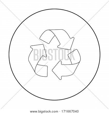 Green recycling sign icon in outline design isolated on white background. Bio and ecology symbol stock vector illustration.