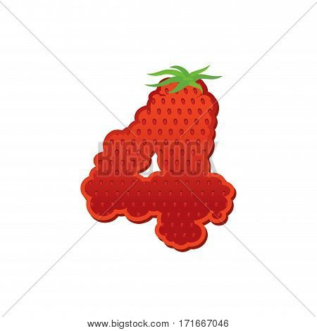 Number 4 Strawberry Font. Red Berry Lettering Four Alphabet. Fruits Abc