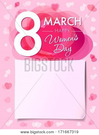 Happy Womens day 8 march flyer. 8 March Women's Day greeting card template with vector pink hearts and paper on background