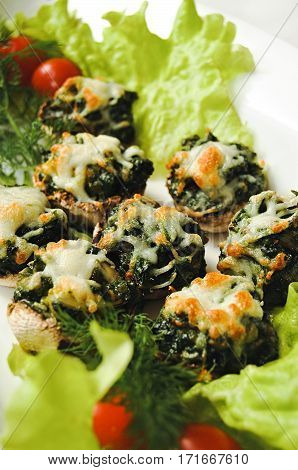 Stuffed mushrooms stuffed with spinach garlic and cheese Spinach and cheese mushrooms broccoli cheese with tomato in salad leaves and dill. tasty snack delicacy Greens under melted cheese mushrooms.