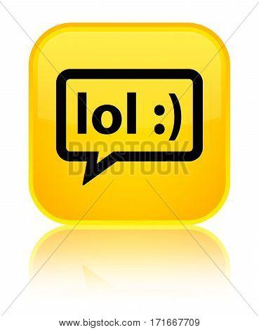 Lol Bubble Icon Shiny Yellow Square Button