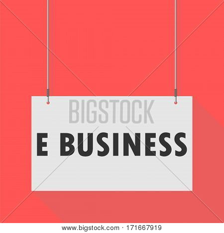 Hanging Sign e business on red background