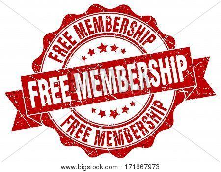 free membership. stamp. sign. seal. round. retro. ribbon