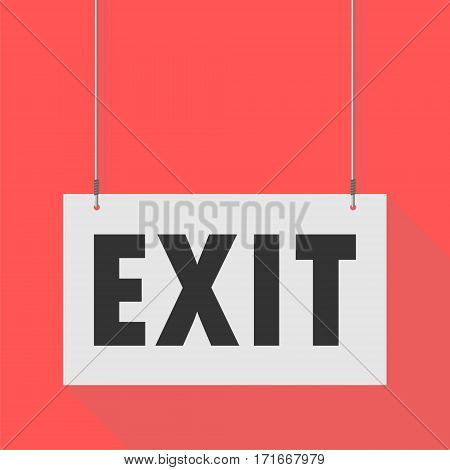 Simple Hanging Sign exit on red background