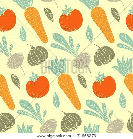 Colorful vegetable vector seamless pattern with carrot, tomato, turnip, radish, garlic and leaf. Organic food hand drawn background