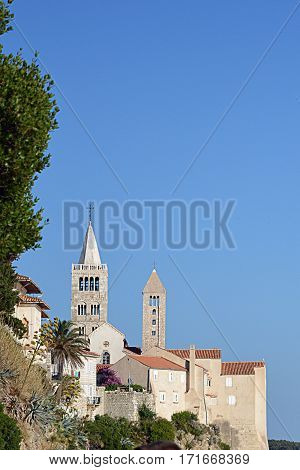 Churches on island Rab in Adriatic sea of Croatia