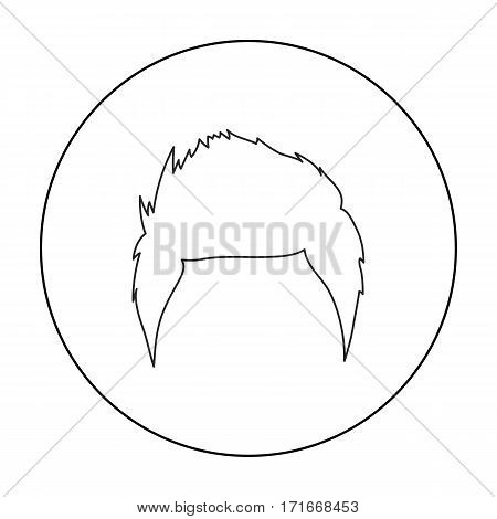 Man's hairstyle icon in outline style isolated on white background. Beard symbol vector illustration.
