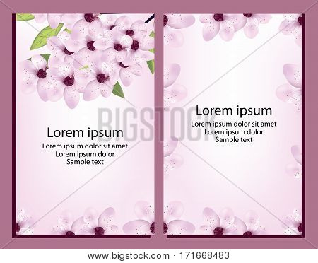 Set card with cherry or sakura blossom and text. Vector illustration.