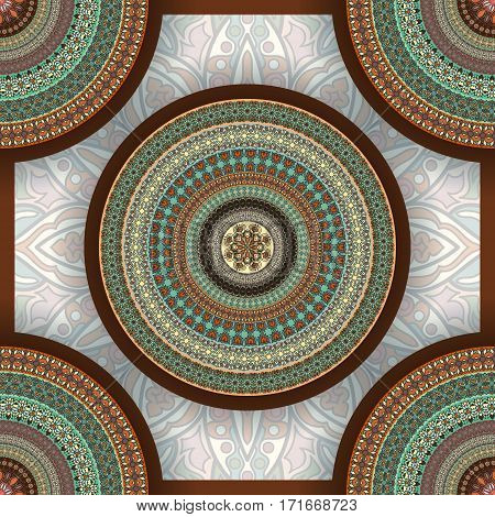 Ornate Floral Seamless Texture, Endless Pattern With Vintage Mandala Elements.