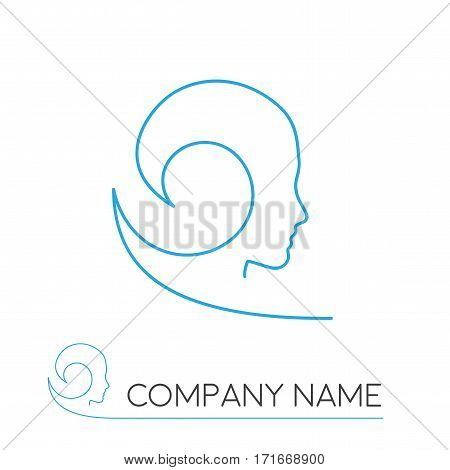 Vector sign surfer, abstract shape on white