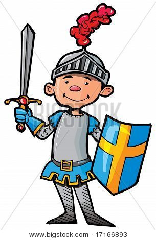 Cartoon Knight In Armour With A Sword