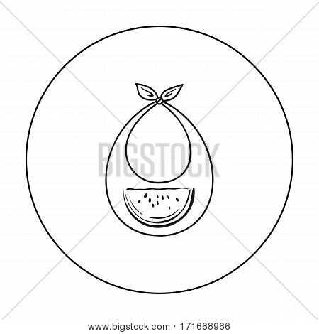 Baby bib icon in outline style isolated on white background. Baby born symbol vector illustration.