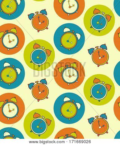 Retro alarm clock vector seamless pattern. Vintage watch background