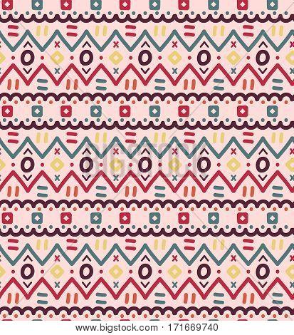 Ethnic textile decorative native ornamental striped seamless pattern
