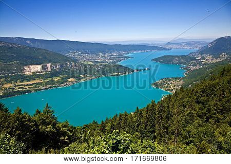 View over Lac Annecy. Town of Annecy at the top. Town of Talloires is at the middle, right side.
