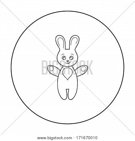 Rabbit toy icon in outline style isolated on white background. Baby born symbol vector illustration.