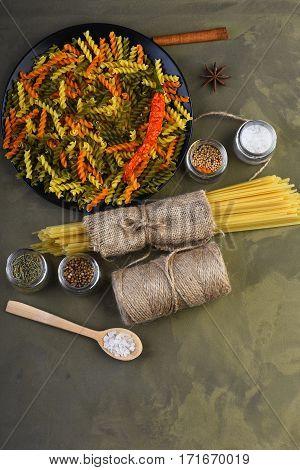 Fusilli Pasta And Spaghetti In Sackcloth With String Bobbin