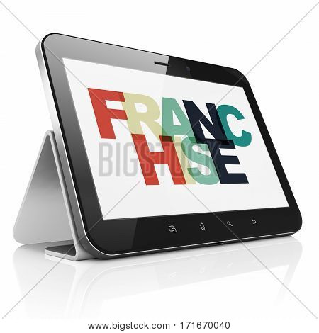 Finance concept: Tablet Computer with Painted multicolor text Franchise on display, 3D rendering
