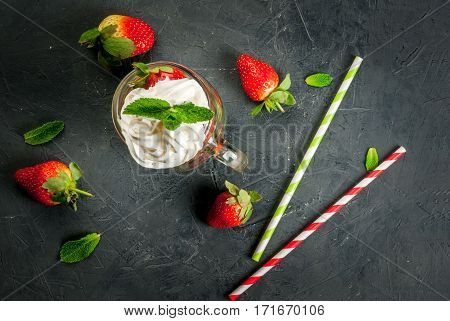 Concept Of Strawberry Smoothie