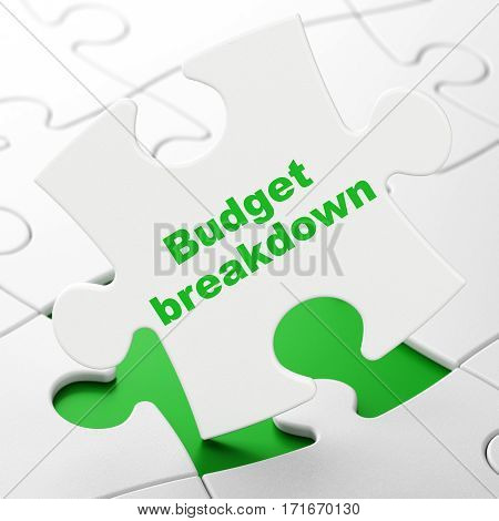 Finance concept: Budget Breakdown on White puzzle pieces background, 3D rendering