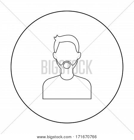 Man with beard icon outline. Single avatar, peaople icon from the big avatar outline.