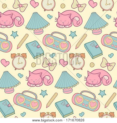 Cute morning vector seamless pattern with alarm clock, tape recorder, heart, star, bow, cat, lamp, pencil and diary. Vintage set of house items. Sweet home elements