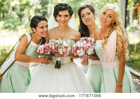 The adorable bride with her amazing bridesmaids