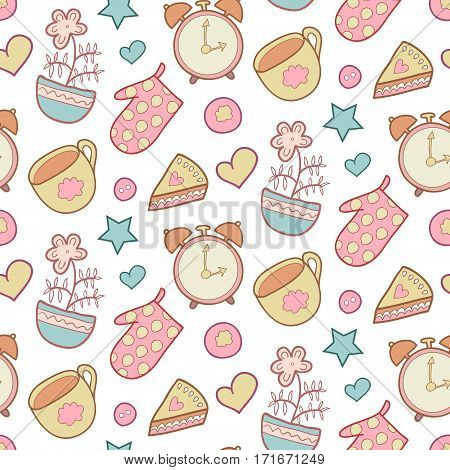 Cute morning vector seamless pattern with star, flower, potholder, pie, cup. Kitchen cooking background. Sweet home elements