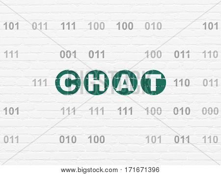 Web development concept: Painted green text Chat on White Brick wall background with Binary Code