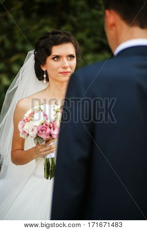 The Tenderness Couple In Love Are On The Wedding Ceremony