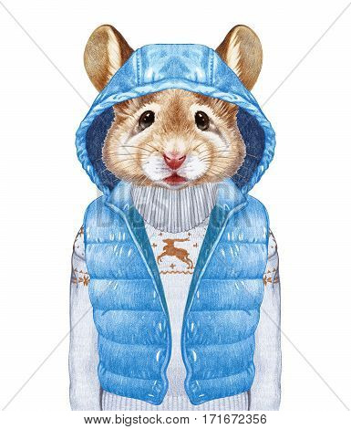 Animals as a human. Mouse in down vest and  sweater. Hand-drawn illustration, digitally colored.
