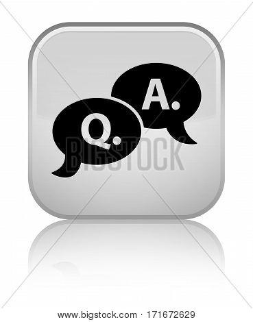 Question Answer Bubble Icon Shiny White Square Button