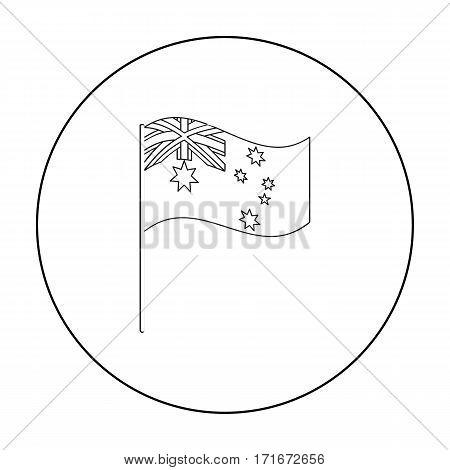 Australian flag icon in outline design isolated on white background. Australia symbol stock vector illustration.
