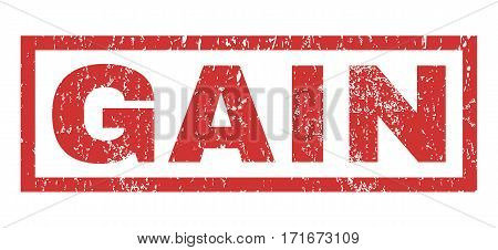 Gain text rubber seal stamp watermark. Tag inside rectangular banner with grunge design and scratched texture. Horizontal vector red ink sticker on a white background.