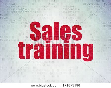 Advertising concept: Painted red word Sales Training on Digital Data Paper background