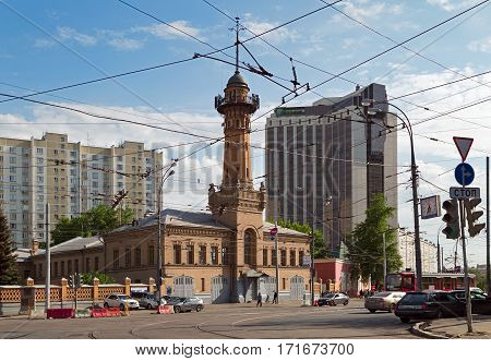 MOSCOW/ RUSSIA - MAY 17, 2014. Old fire tower in the center of Moscow, Russia.