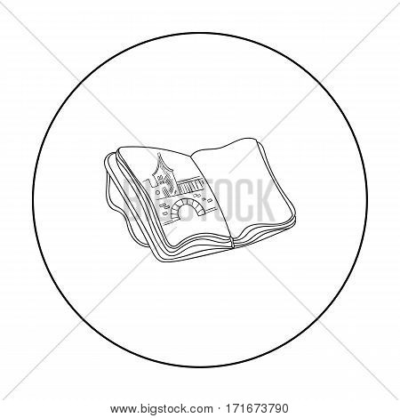 Sketchbook with drawings icon in outline style isolated on white background. Artist and drawing symbol vector illustration.