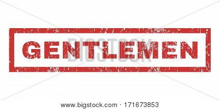 Gentlemen text rubber seal stamp watermark. Tag inside rectangular banner with grunge design and unclean texture. Horizontal vector red ink emblem on a white background.