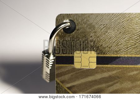 the credit card with small hanging padlock