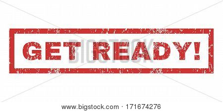 Get Ready exclamation text rubber seal stamp watermark. Tag inside rectangular banner with grunge design and dirty texture. Horizontal vector red ink sign on a white background.