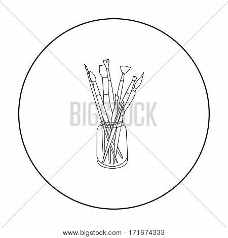 Paintbrushes for painting in the jar icon in outline style isolated on white background. Artist and drawing symbol vector illustration.