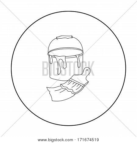 Bucket of paint and paintbrush icon in outline style isolated on white background. Artist and drawing symbol vector illustration.