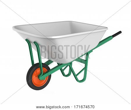 Wheelbarrow isolated on white background. 3D render