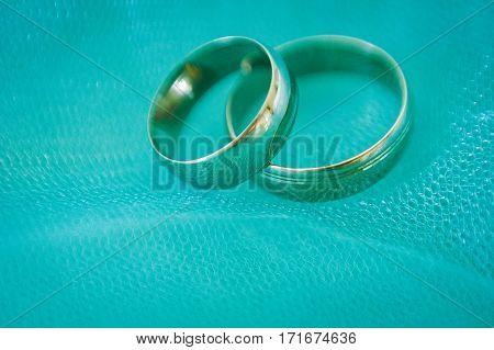 Wedding Rings. Wedding Symbols, Attributes. Holiday, Celebration. Macro. Blur