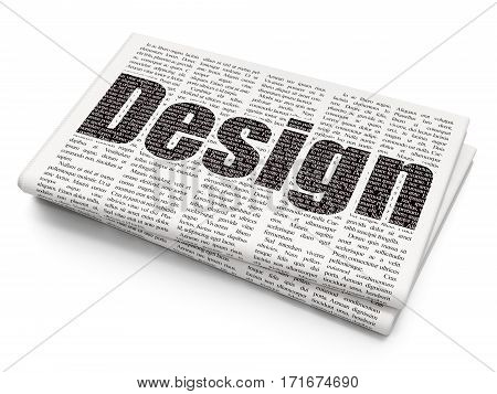 Marketing concept: Pixelated black text Design on Newspaper background, 3D rendering