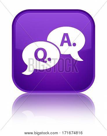 Question Answer Bubble Icon Shiny Purple Square Button