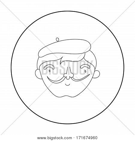 Self-portrait of artist icon in outline style isolated on white background. Artist and drawing symbol vector illustration.