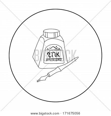 Dip pen with inkwell icon in outline style isolated on white background. Artist and drawing symbol vector illustration.